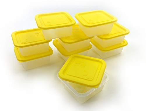 Homeline Freezy-Recipiente hermético Juego-Lata para Guardar Alimentos Almacenamiento-Tarros Adecuado para lavavajillas Microondas y Congelador de hasta 40°C, 9 Dosen 0,55L mit Deckel (Gelb)