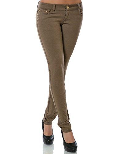 Damen Hose Treggings Skinny Röhre (weitere Farben) No 13011, Größe:S 36;Farbe:Khaki (Hose, Damen Khaki)