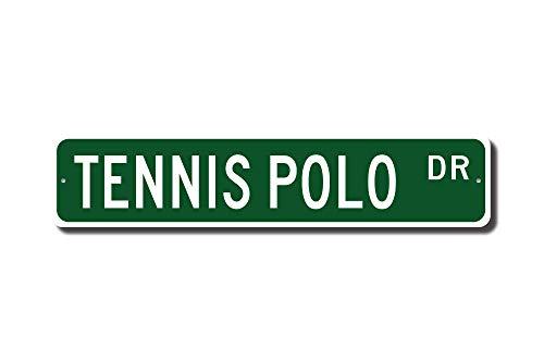 qidushop Tennis-/Poloschild, Tennis-/Polo-Fan, Tennis-/Polo-Fan, Tennis-/Polo-Fan, Geschenk, für Fußball, Schläger und Ball, Sport-Straßenschild, Neuheit aus Metall und Aluminium - Neuheit Fußball-bälle