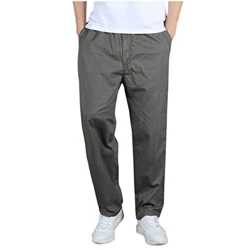 Pantaloni Uomo,☀NnuoeN☀ Pantaloni Uomo Elegante con Tasche Laterali Zip Elastica Vita Cotone Dritti Larghi Fit Casual Regular Taglie Forti Exlarge Diversi