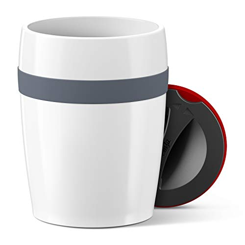 Emsa N2060300 Travel Cup Ceramics Isolierbecher Keramikbeschichtung, Weiß-Anthrazit