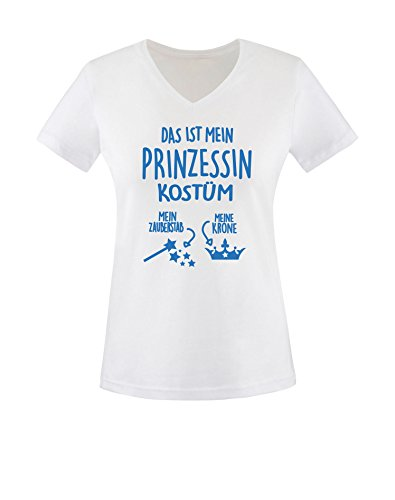 Luckja Das ist mein Prinzessin Kostüm Damen V-Neck T-Shirt Weiß/Blau