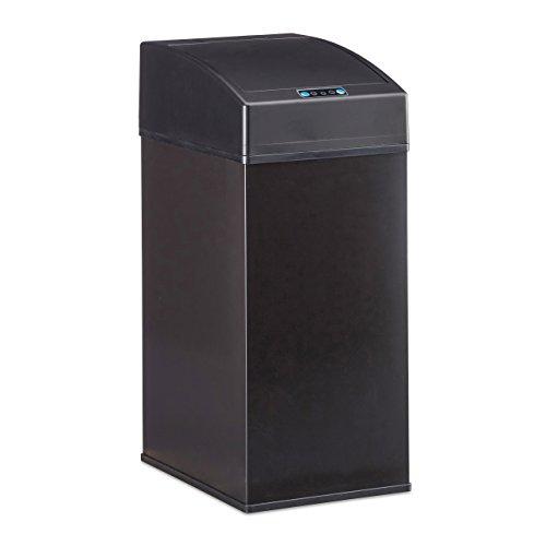 Relaxdays Sensor Mülleimer, Automatikdeckel, Inneneimer mit Griff, hygienisch, 7 L, Stahl, HBT: 35 x 15 x 20 cm, schwarz (Biotonne Stahl)