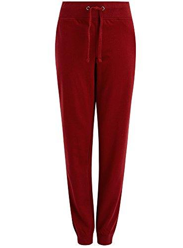 oodji Ultra Damen Jersey-Hose im Sport-Stil, Rot, DE 32 / EU 34 / XXS (Navy Hose Frauen)