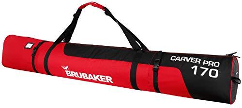 BRUBAKER 'Carver Pro 1.0' Bolsa Porta Esquís - Bolsa Deporte De Nieve Para Transportar Un Par De Esquís Y Bastones - Rojo / Negro - 170 cms.