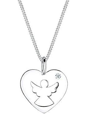 Diamore Damen-Kette mit Anhänger Engel 925 Silber Diamant (0.03 ct) weiß Brillantschliff 45 cm