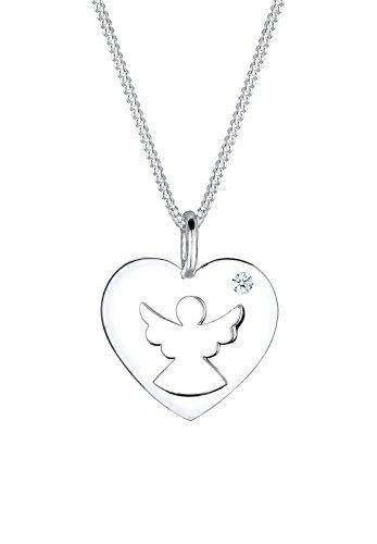 Diamore Damen-Kette mit Anhänger Engel 925 Silber Diamant (0.03 ct) weiß Brillantschliff 45 cm - 0105180815_45