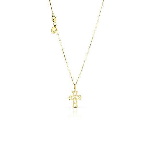 Collana con pendente piccolo a croce traforato in oro giallo ROBERTO GIANNOTTI NKT211