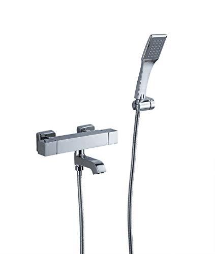 Sccot Duschsystem Set mit Thermostat Duscharmatur, Duschethermostat Duscharmatur mit Handbrause Regendusche Dusche Armatur, Chrom Duschset