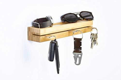 Perfectogar Schlüsselbrett - stilvoller Schlüsselhalter mit Ablage - hochwertig verarbeitetes Schlüsselboard aus Bambus