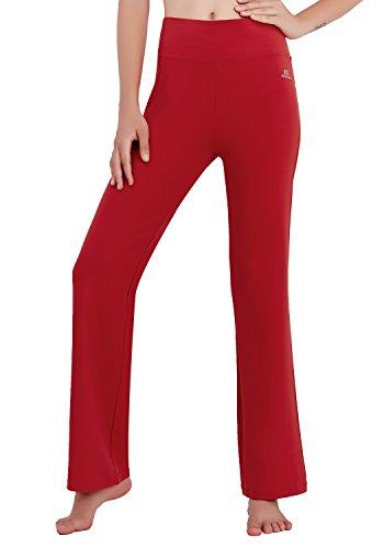 Matymats Damen Yoga Hose mit hoher Taille mit ausgestelltem Bein, Sporthose, Bootcut,  Rot, M