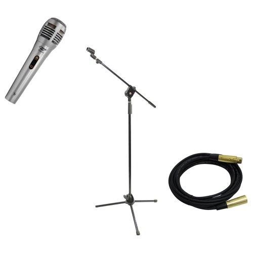 Pyle PDMIK1 Handmikrofon/Stativ, professionell, bewegliche Spule, dynamisch, PMKS3, Stativ-Mikrofonständer mit ausziehbarem Galgen, 4,5 m Symmetrisches Mikrofonkabel XLR Female auf XLR Male