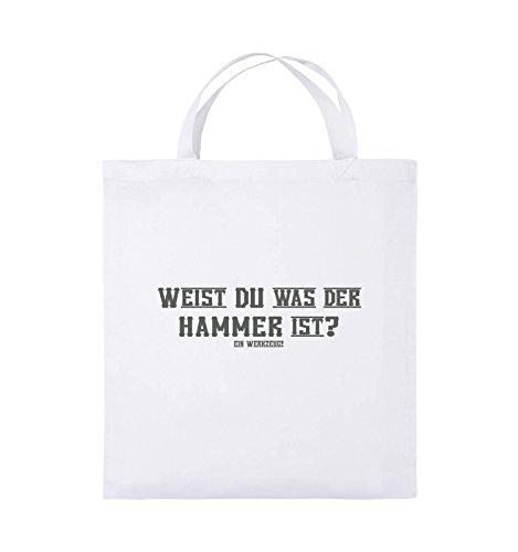 Comedy Bags - WEIST DU WAS DER HAMMER IST? - Jutebeutel - kurze Henkel - 38x42cm - Farbe: Schwarz / Pink Weiss / Grau