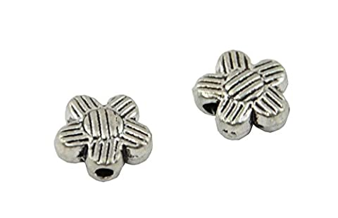 25pcs Striped Flat Flower Metal Spacer Bead (59004-212)