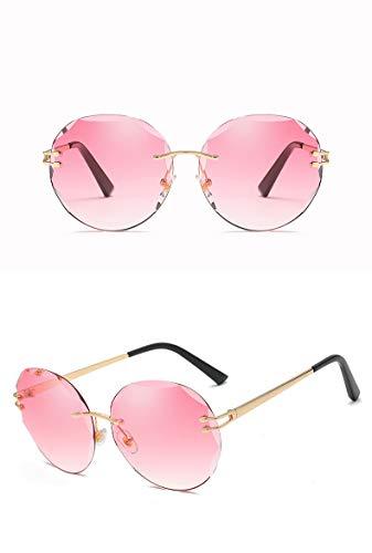 ZJWZ Steigung Sonnenbrille koreanische Trend Ocean Sheet Gläser Metal Sonnenbrille Frauen-Sonnenbrille,Lightpurple,Gold