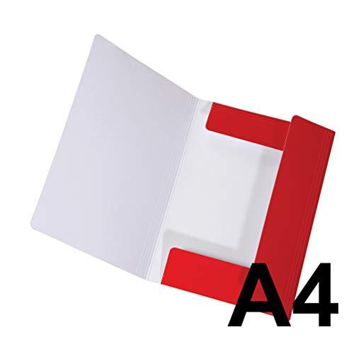 Original Falken Sammelmappe LongLife. Aus extra starkem Karton mit 3 Klappen und Gummiband für DIN A4 rot Aufbewahrung-Mappe Zeichenmappe ideal für Büro und Schule