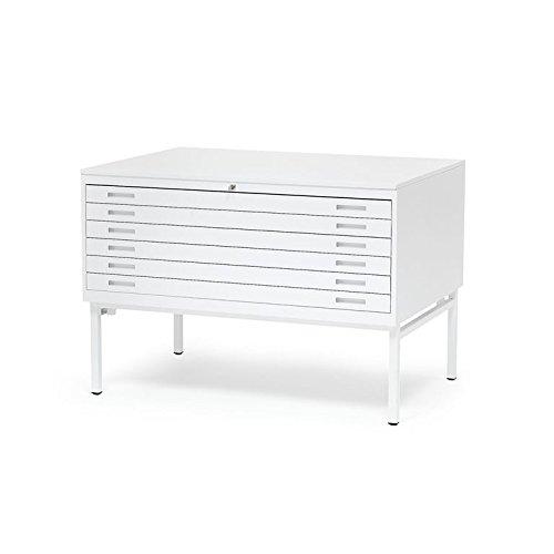 AJ Produkter AB 105724 Planschrank DIN A0 mit 6 Laden, Stahl Weiß, Top: Weiß