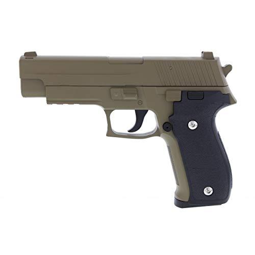 KOSxBO® schwere robuste Airsoft Pistole - G26 Vollmetall Metallschlitten, FDE Flat Dark Earth Cal. 6 mm BB + Softair Munition - Vollmetall Softair Markierer (Pfeffer Munition)