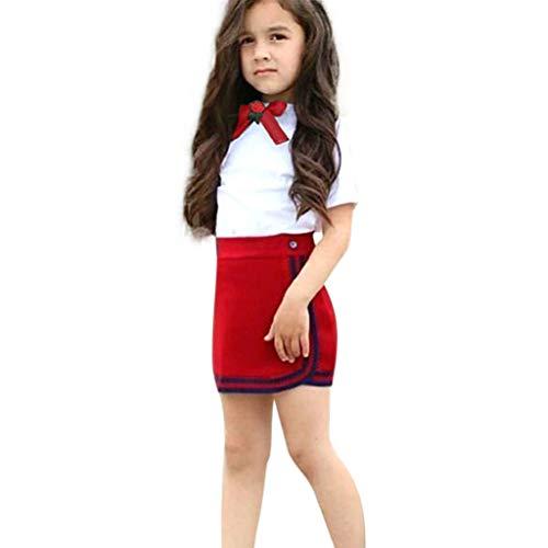 aiyvi Mädchen Bowtie Blumen Tops T-Shirt Short+Mini Rock Set, Kleinkind Baby Mädchen Bekleidungssets Kleidung,Süß Lieblich und Casual,für 12 Monate-6 Jahre Mädchen - Süße Mädchen Röcke