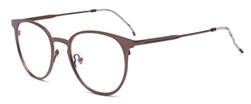 ALWAYSUV Modische Sonnenbrillen Metal Brillenfassung light Gewicht Aviator Clear Lens Glasses Fashion Glasses Bronze