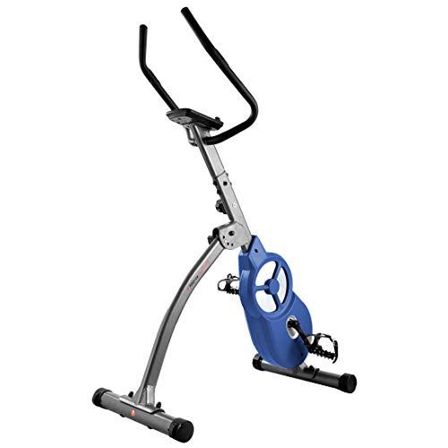 Ultrasport F-Bike 600 Pro Pedaltrainer, Hometrainer für Bein-und Bauchtraining, inklusive Handpuls-Sensor-Ergometer mit 3 Trainingsmodi und Multifunktionsdisplay, klappbar, Dunkelgrau Blau