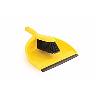 Abbey Plastic Dustpan and Brush Set, Yellow
