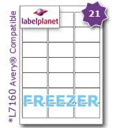 21 Per Page/Sheet, 10 Sheets (210 Sticky FREEZER Labels), Label Planet® White Blank Matt Self-Adhesive A4 Deep Freeze Stickers, For Frozen Food/Products Printable With Laser or Inkjet Printers, UK LP21/63 DF, 63.5 x 38.1 MM, JAM FREE PRINTING