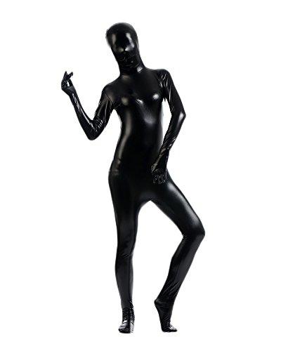 Erwachsene Kostüme Herren Shiny Einteiler Overall Ganzkörperanzug Faschings Anzug Schwarz XXXL