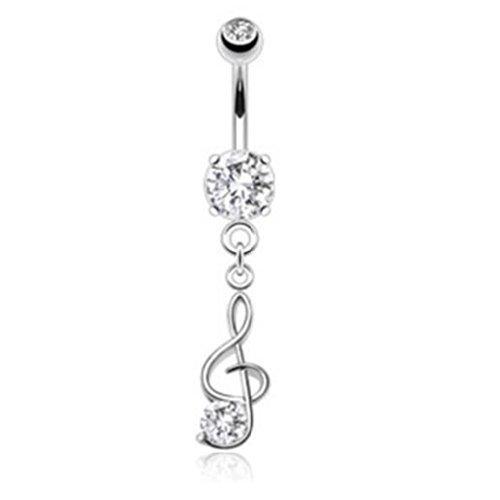 Paula & Fritz piercing per ombelico in acciaio inossidabile 316L con ciondolo nota musicale con zirconia incolore nsb1005_