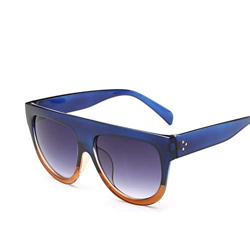 Yuanz Flat Top Spiegel Sonnenbrille Frauen Markendesigner Sonnenbrille Für Frauen Niet Gradienten Damen Sonnenbrille Weibliche Brille Uv400,Blau braun