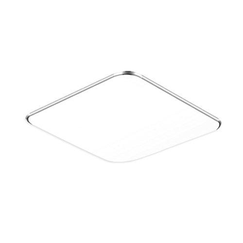 24W Kaltweiß LED Modern Deckenlampe Ultraslim Deckenleuchte Schlafzimmer Küche Flur Wohnzimmer Lampe Wandleuchte Energie Sparen Licht Silber (24W Silber Kaltweiß)