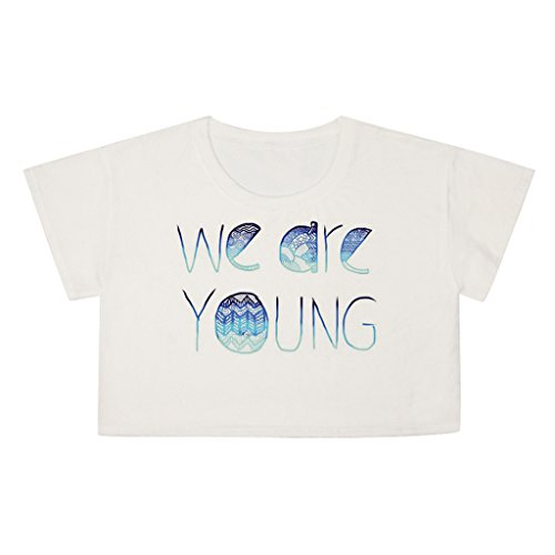 Pretty321 Women Girl Sexy We Are Young Letter Print Cute Crop Top T shirt Blouse Amazon