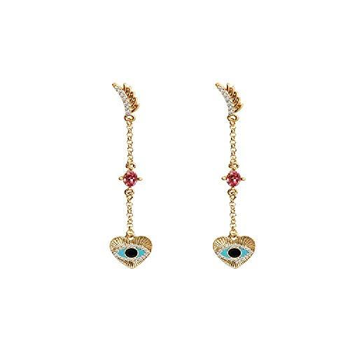 Auge Weihrauch (S925 Silber Nadel Ohrringe, Lange Augen Ohrringe Weiblich 7,5 Cm)