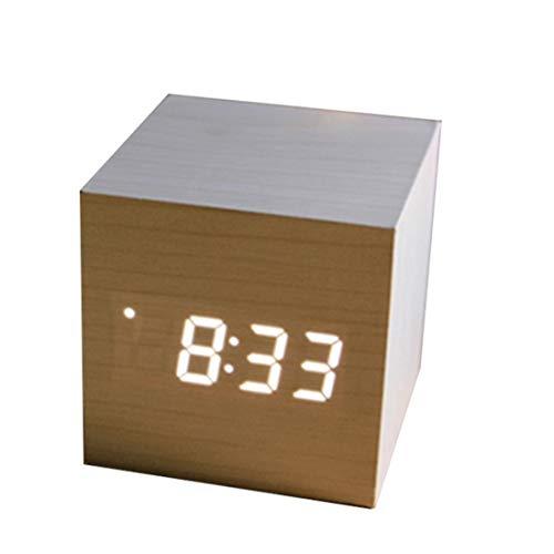 Fusanadarn Reloj Cuadrado de Madera LED Reloj de Mesa electrónico ...