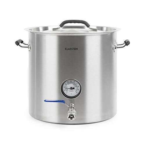 Klarstein Brauheld Pur 25 caldero de mosto de acero 304-25 litros, termómetro integrado,...