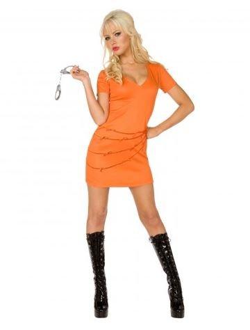Gefangene Sträfling Orange weiblich Jumpsuit Kostüm (Kostüme Weiblich Sträfling)