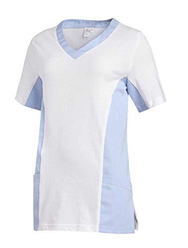 Leiber Women's Scrubs 2-Pocket Top, bicolour design, Colour: Light Blue, Size: M -