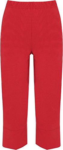 WearAll - Pantalon Court 3/4 Corsaire Capri Uni Elastiquée - Pantalon - Femme - Grandes Tailles 40-50 Rouge