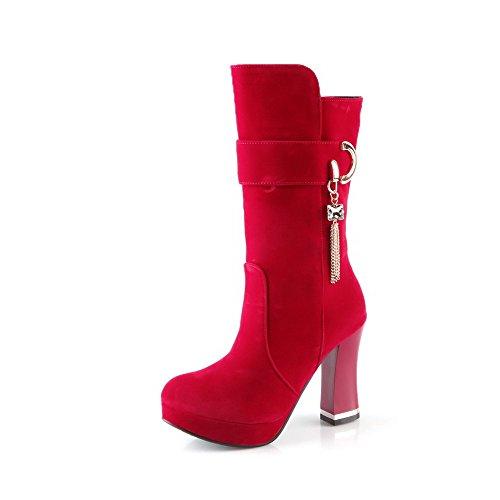 VogueZone009 Donna Tacco Alto Bassa Altezza Chiodato Tirare Stivali con Vetro Diamante Rosso
