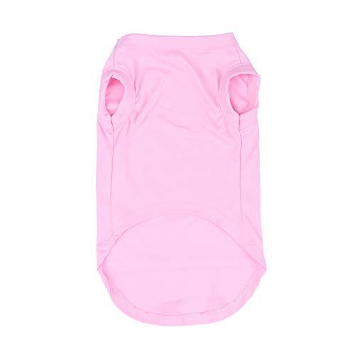 POPETPOP Hund Hemden Baumwolle bequeme Haustier Kleidung lässig Haustier Hund Kleidung Tier atmungsaktiv weiche Grund Weste (Größe M, Pink)