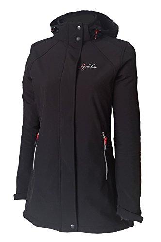 Dry Fashion Damen Softshell Mantel Sylt tailliert Regenmantel Regenjacke, Farbe:schwarz, Größe:42