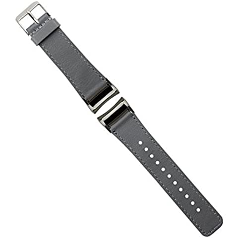 Samsung Gear Fit 2 Cinturino, Moonmini® Genuino cuoio cinturino Bracciale wrist Strap con l'adattatore per Samsung Gear Fit 2 Grigio