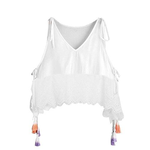 OverDose Damen Lace Chiffon Vest Top Sleeveless Casual Tank Blouse Summer Tops T-Shirt Spitze Weste Sommer Blusen (S, D-Weiß2) (Junge Tank Top Damen)