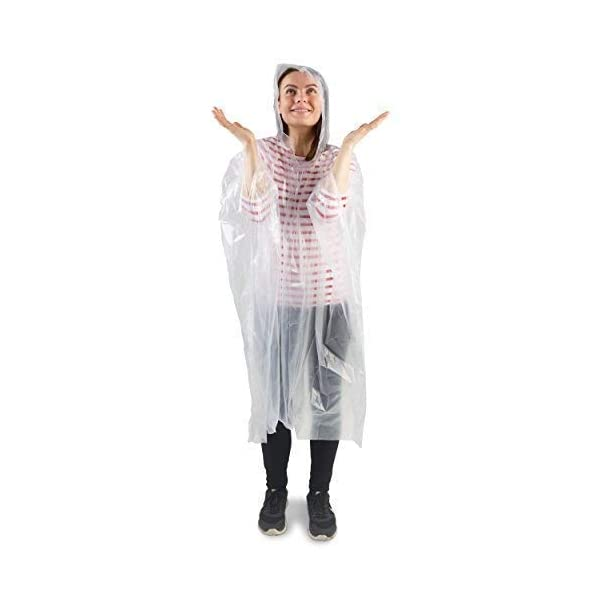 Wolf Den Disposable Rain Poncho - Adult - Transparent - Pack of 5 Waterproof Emergency Ponchos - Rain Mac with Hoods