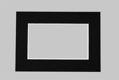 Passepartout in Schwarz 13x18 cm mit Ausschnitt für 10x15 cm große Bilder, Passepartouts in Museumsqualität - 3 Stück