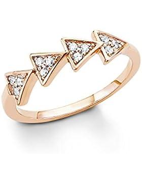 s.Oliver Damen-Ring Geometrie Dreiecke 925 Sterling Silber rosévergoldet Zirkonia weiß