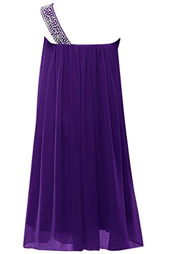 Sunvary Traumhaft Ein-Traeger Kurz Perlen Paillette Chiffon A-Linie  Cocktailkleid Partykleid Violett ...