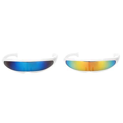 D DOLITY 2 Stücke Gelb Blau UV Schützen Alien Futuristische Brillen Schmale Zyklopen Farbe Verspiegelten Objektiv Visier Sonnenbrille