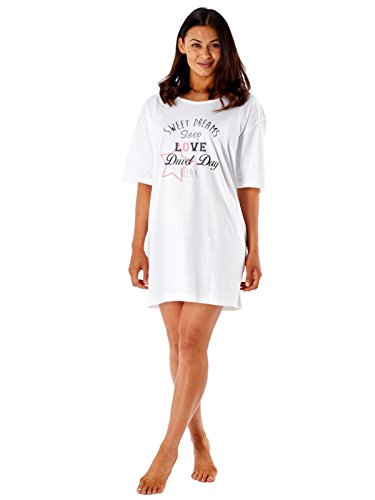 Femmes Robe De Nuit Sommeil T-shirt Femmes Bouffant T Shirt Style Nuisette Pyjama Sweet Dreams - Blanc