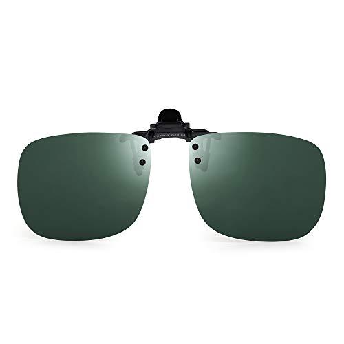 JM Polarisiert Clip auf Sonnenbrillen Rahmenlos Flip up Linsen für Rezept Brillen Grün
